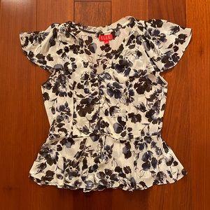 Elle Chiffon Flutter Short Sleeve Button Blouse S